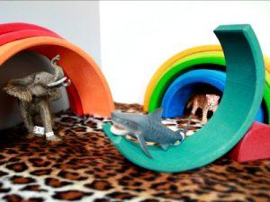 spelen met de Grimms regenboog